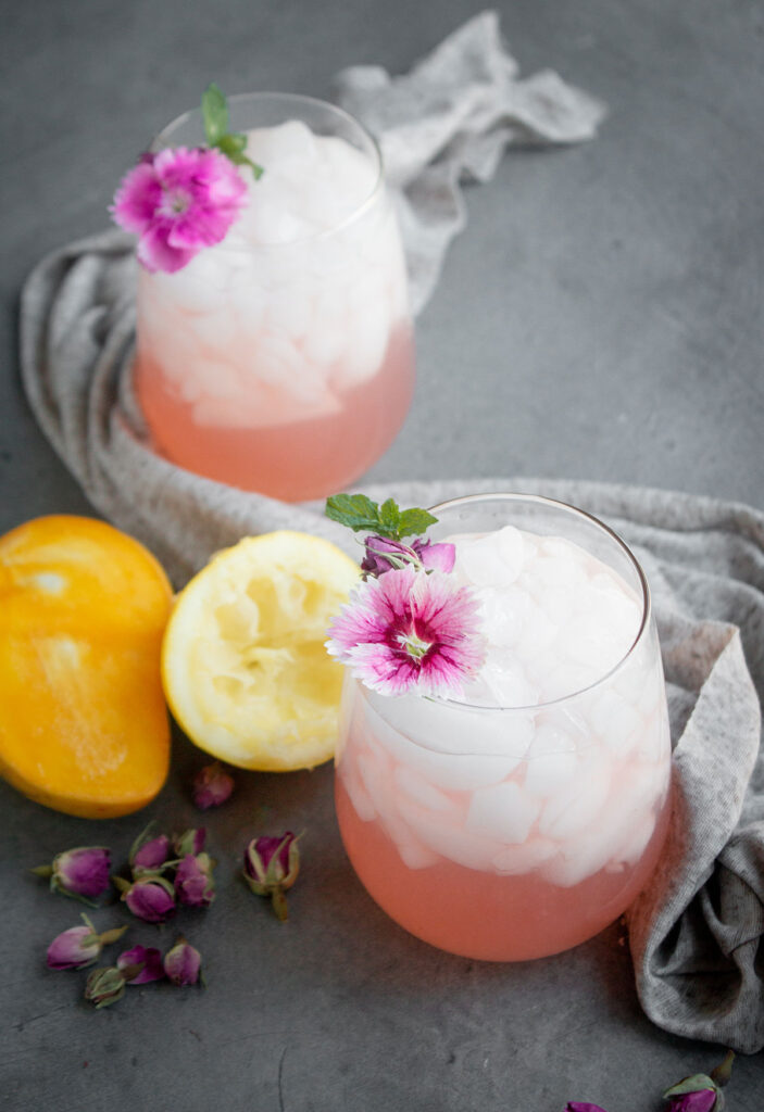 homemade lemonade with rose and mango