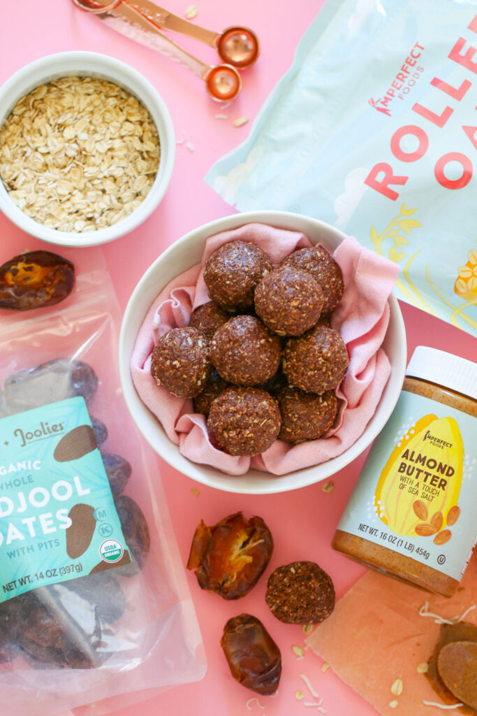 almond butter energy balls with Imperfect foods almond butter, dates, and rolled oats