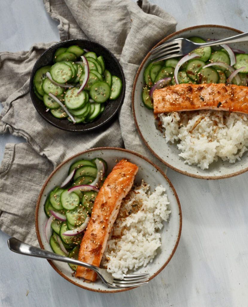 salmon rice bowls with quick pickled cucumbers