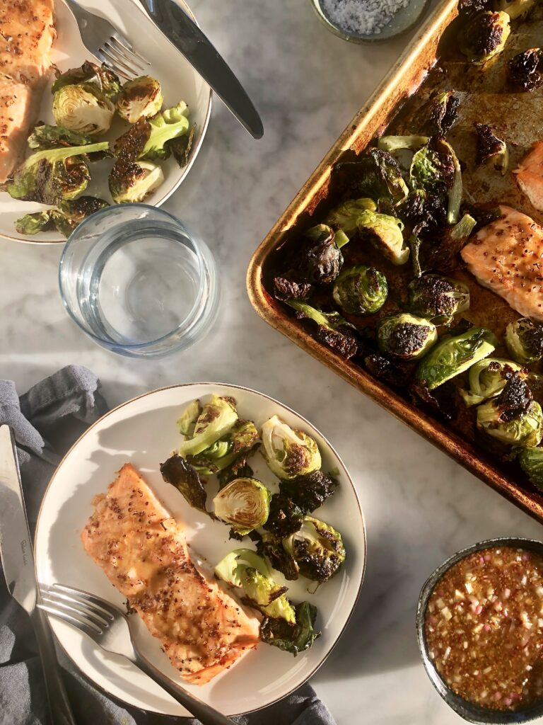 Maple and Mustard Glazed Salmon & Brussels Sprouts Sheet Pan Dinner