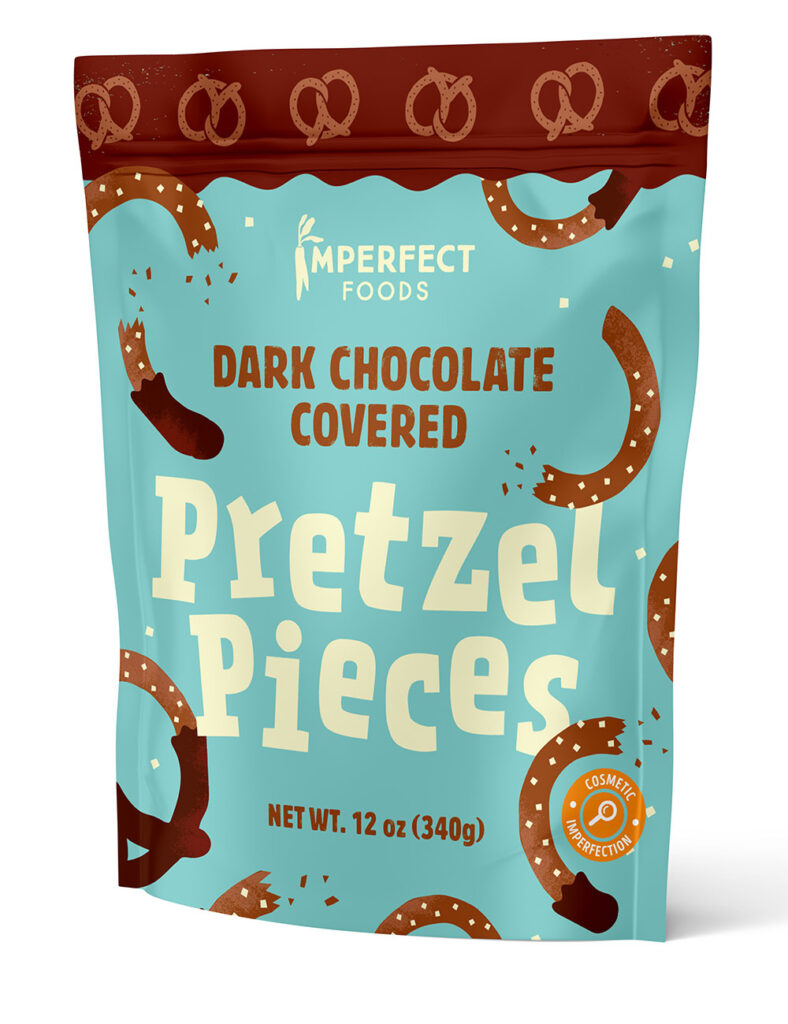 Imperfect foods dark chocolate covered pretzels. Part of our grocery essentials.