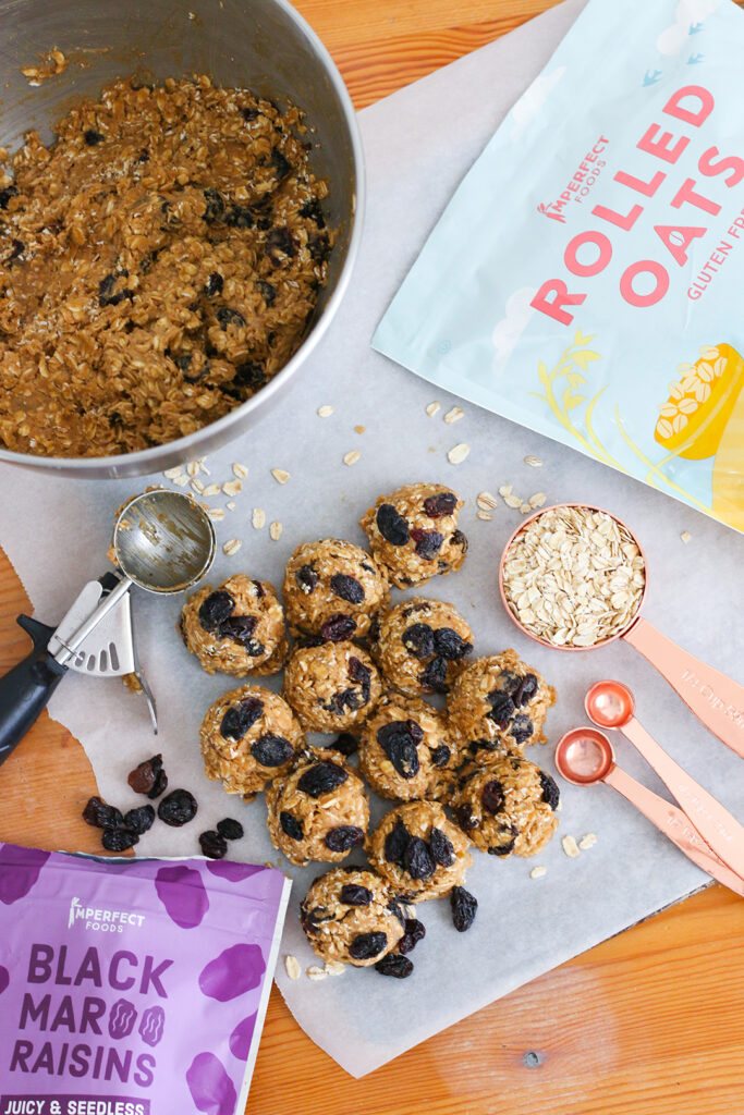 Chewy oatmeal raisin cookie dough with Imperfect Foods rolled oats.