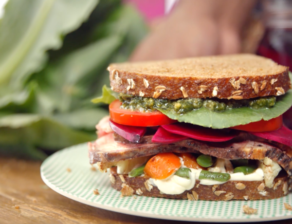 Chef Kwame's delicious sandwich made entirely of leftovers!