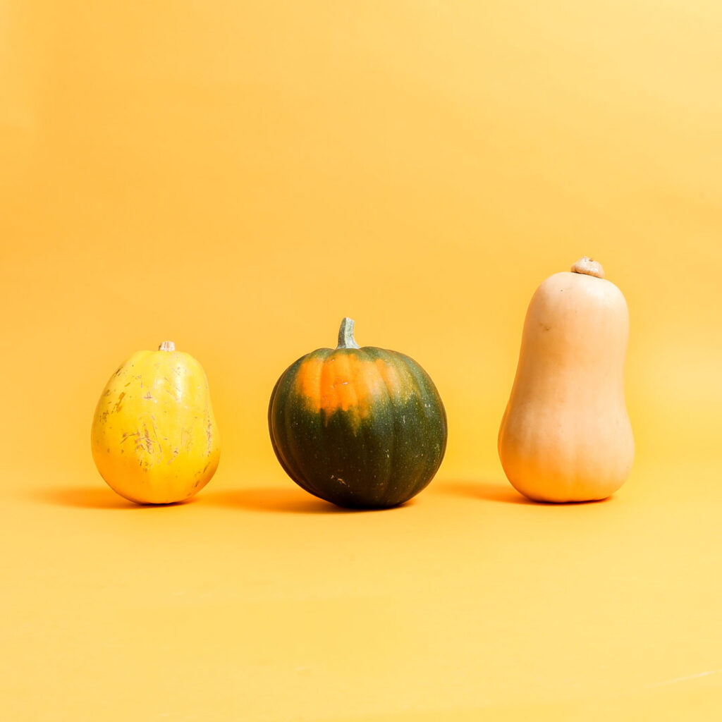 three different squash varieties. Fall groceries for our fall grocery preview