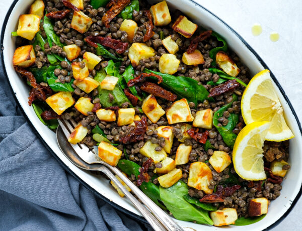 warm lentil salad with roasted sweet potatoes and sun-dried tomatoes