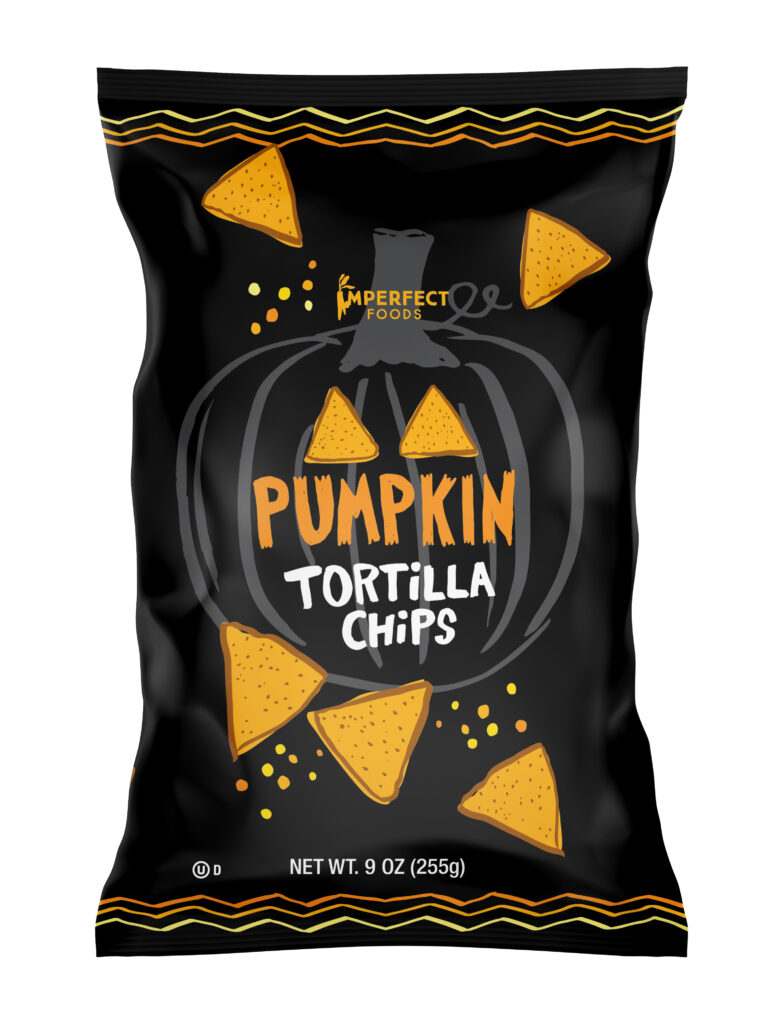 Imperfect Foods Pumpkin tortilla chips and some of our favorite fall groceries