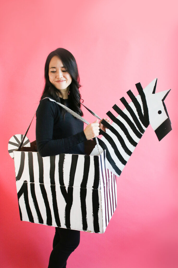 Zebra costume made from cardboard to reuse packaging