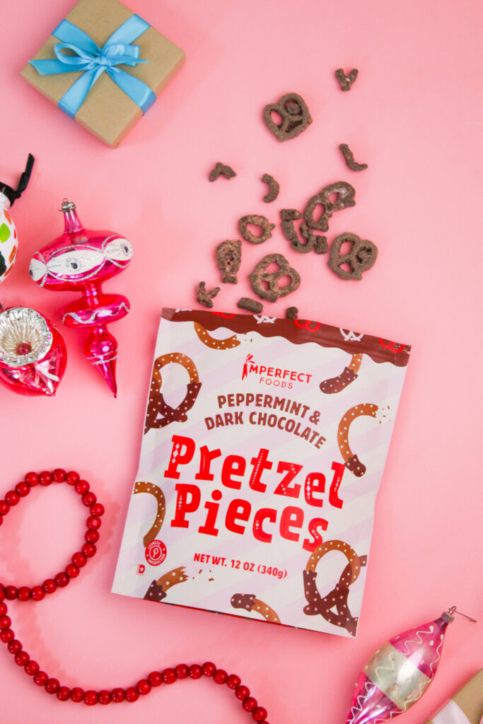 Imperfect's chocolate pretzels with peppermint are in our holiday gift box