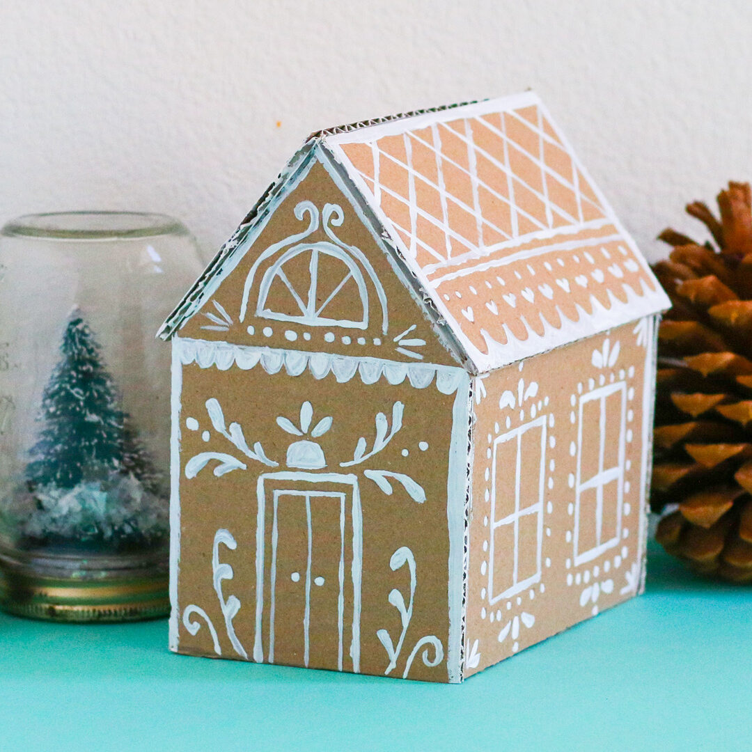 DIY Holiday Decorations: Cardboard Gingerbread House