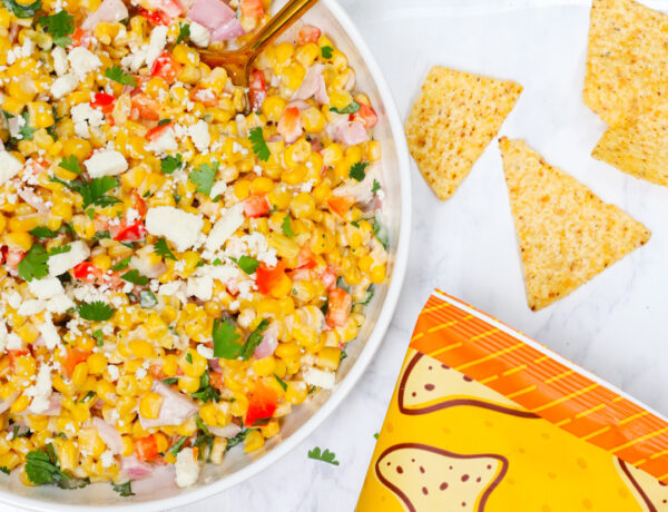 Mexican corn salad with Imperfect corn tortilla chips