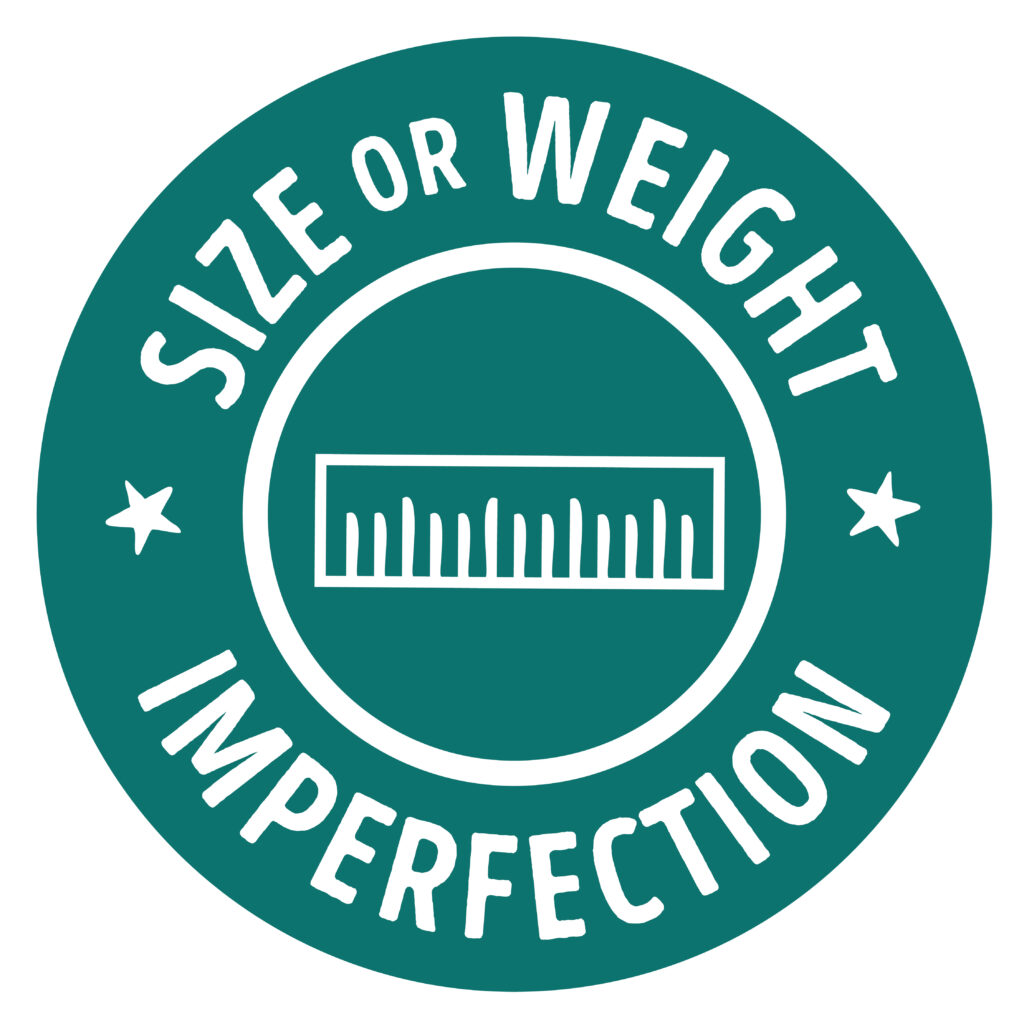 size or weight imperfection badge