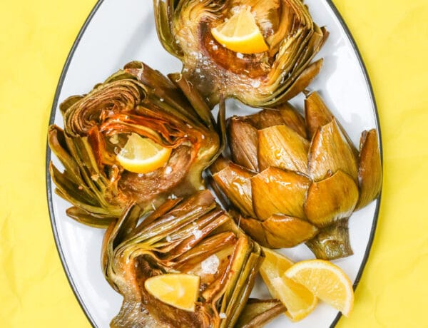 garlic lemon roasted artichokes