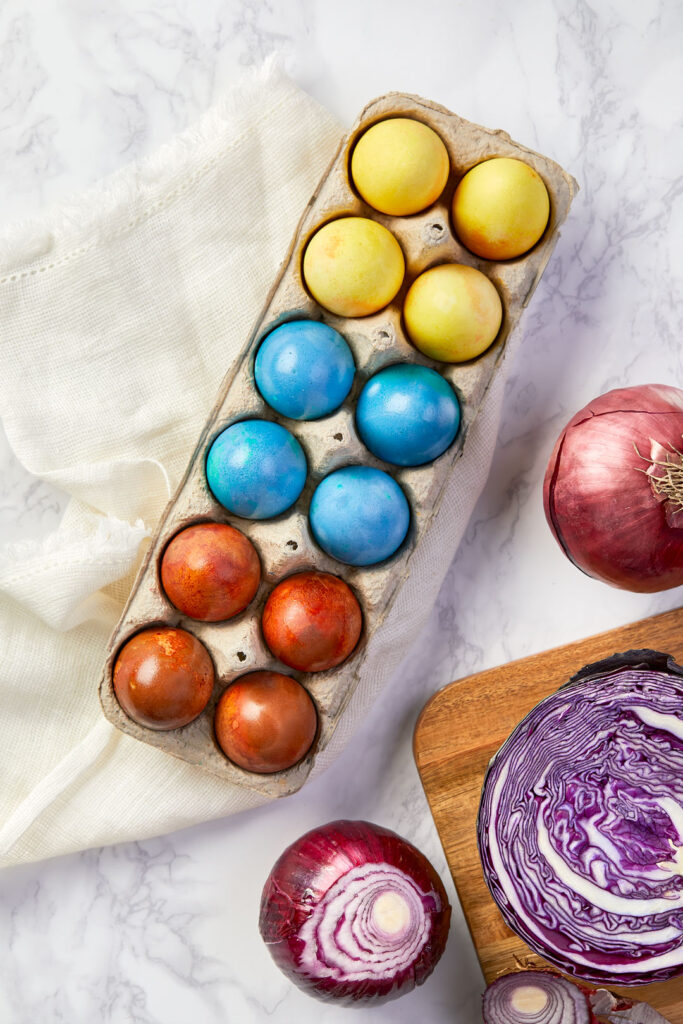 naturally died easter eggs