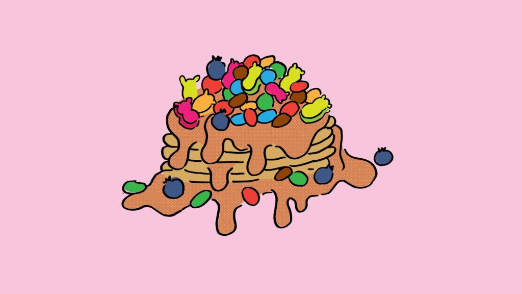 the pancake tower covered in candy