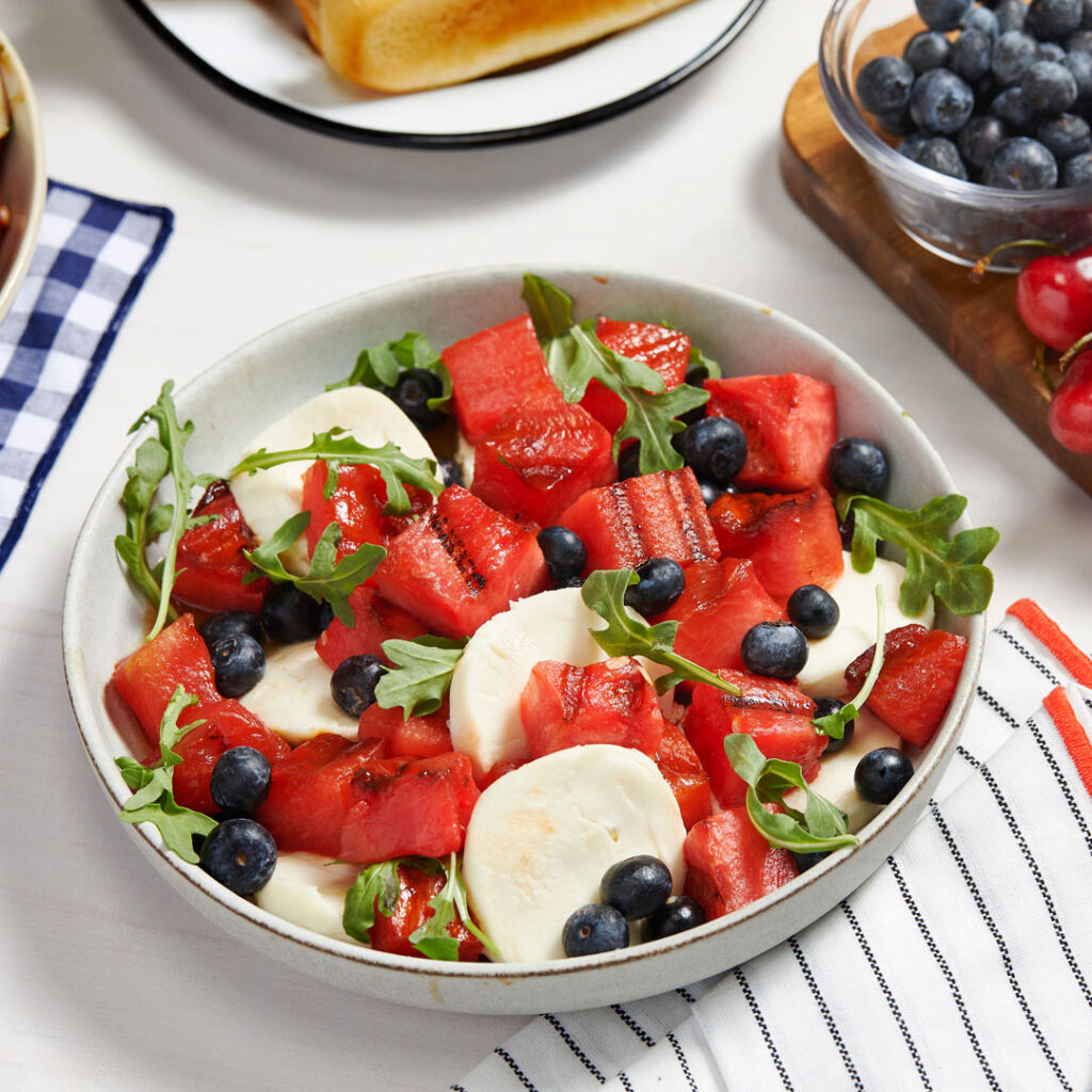 Grilled Watermelon, Blueberry and Mozzarella Salad