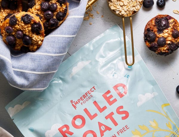 Healthy Baked Blueberry Oatmeal Cups with Imperfect Foods Rolled Oats