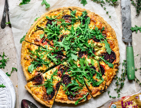 Beet, Arugula, and Goat Cheese Quiche from Love Beets