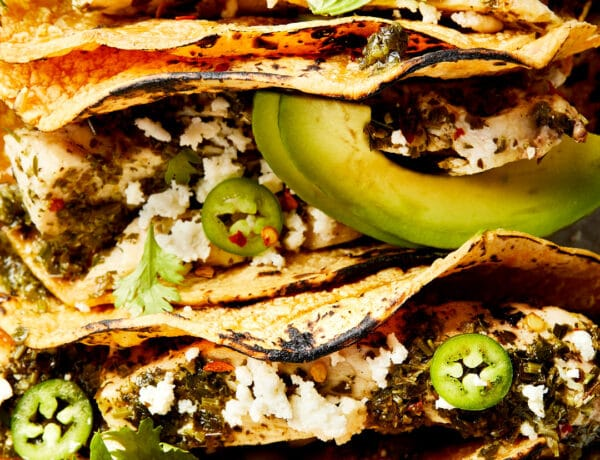 Chimichurri Chicken Tacos with avocado