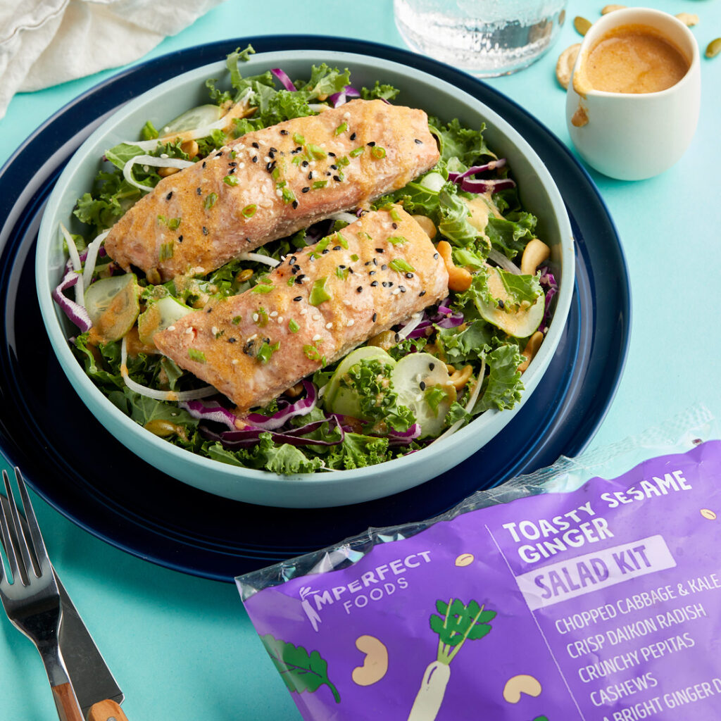 Easy four ingredient Baked Miso Salmon with Sesame Ginger Salad