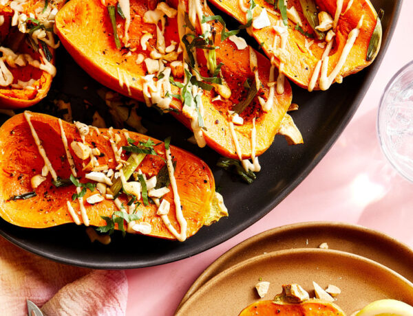 Roasted Honeynut Squash with Herby Cashews and Tahini Drizzle