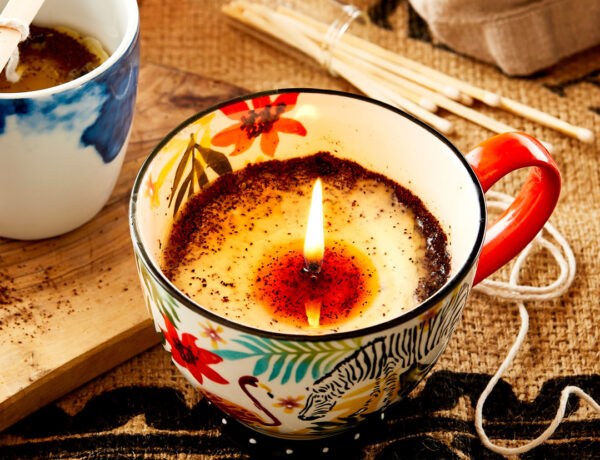 Easy DIY upcycled coffee candles